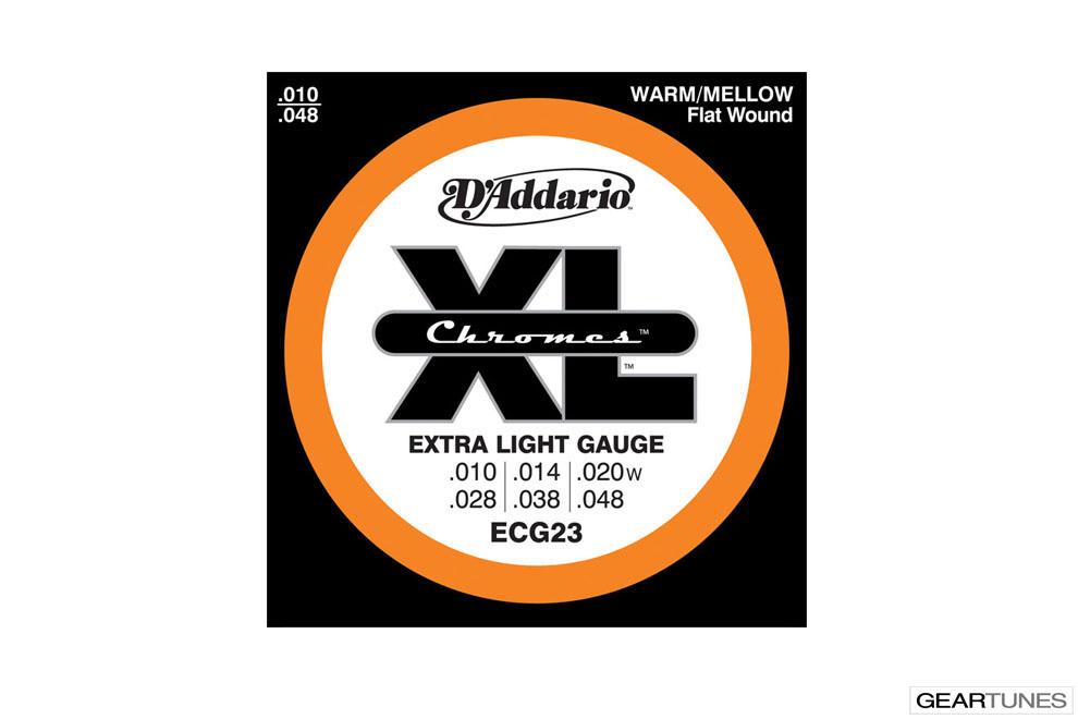 Electric Guitar Strings D'Addario ECG23 Chromes Flat Wound, Extra Light, 10-48