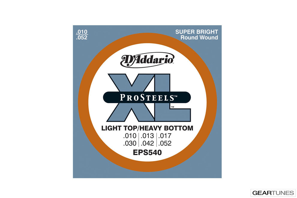 Electric Guitar Strings D'Addario EPS540 ProSteels, Light Top/Heavy Bottom, 10-52